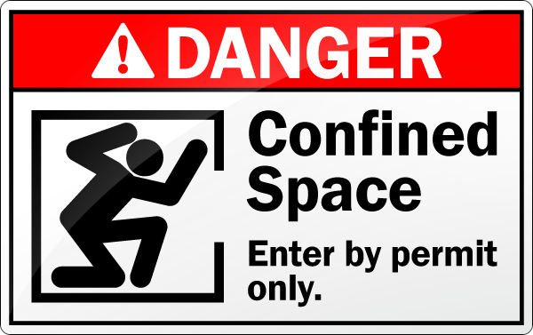 "A red warning sign with the words ""Danger, Confined Space, Enter by Permit Only"""