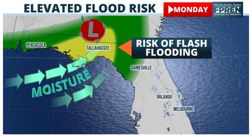 Flash flooding risk warning issued for Florida Panhandle.