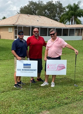 From left, USST's Paul Meding, Paul Del Favero, and Michael Brantley Swinging for a Cause.