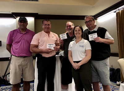 Taking 1st place at the Warriors at Ease Golf Tournament.  From left to right: Thomas Marcase (Veteran), Harry Fritz, Daniel Forehand,  Randy Cordrey (USST), with Christie Hickey.