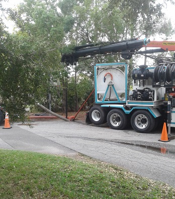 USST's  Combination3® Truck at work performing sand and grit removal on Southwest FL Gravity Sewer.