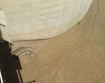 Lime sludge material found in structure at East Florida plant.