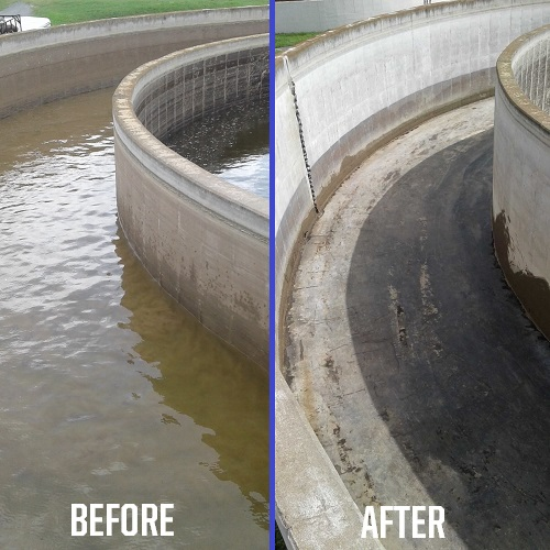 Before and after photo of wastewater treatment plant cleaned by U.S. Submergent Technologies